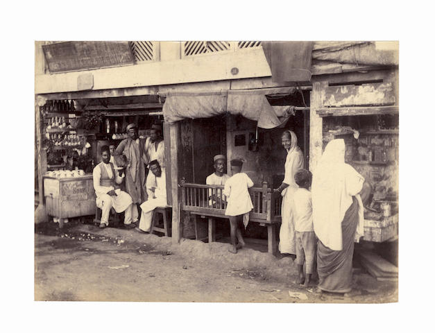 TYPES An album of approximately 100 images including 18 individual or group types reminiscent of William Willoughby Hooper, and two 2-image panoramas of Bombay, [c.1880]