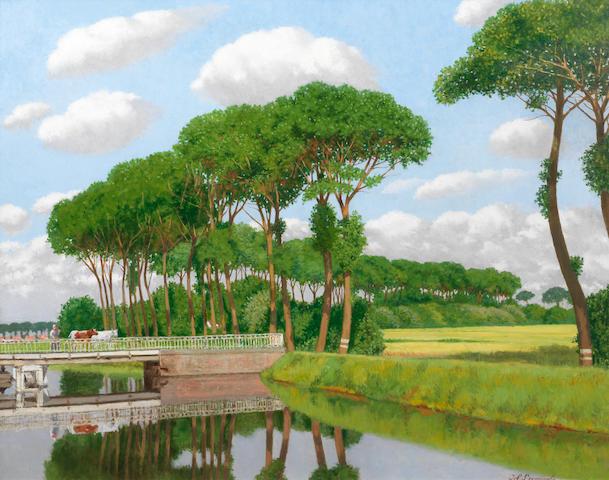 Joseph (Jef) Leempoels (Belgian, 1867-1935) Canal en Flandre
