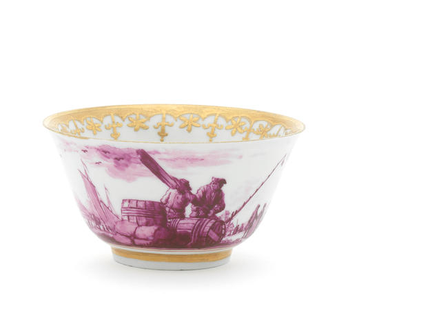 A rare English porcelain teabowl attributed to Vauxhall, circa 1755
