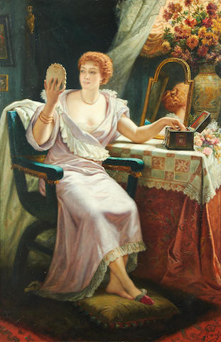 Jules Hippolyte Ravel (French, 1826-1898) A lady at her boudoir