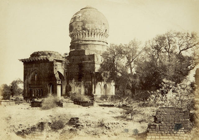 BIJAPUR BIGGS (THOMAS) Mausoleum of Kishwur Khan and Huzrut Shah Ahmed, albumen print, printed caption, pasted to mount, 230 x 320mm., framed and glazed, [1866]