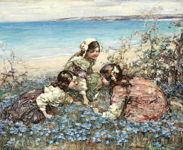 Edward Atkinson Hornel (British, 1864-1933) Three girls beside a beach, 1919