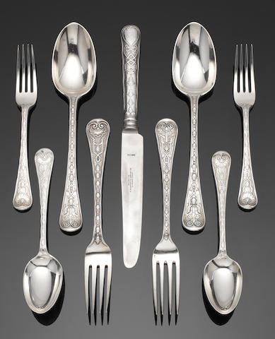A William IV/Victorian   silver matched part table service of Elizabethan pattern  flatware predominantly George Adams, with French Ordinance marks for 1838-1864, London various dates  (32)