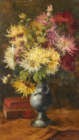 Edmond Van Coppenolle (Belgian, 1846-1914) Still life of flowers and books