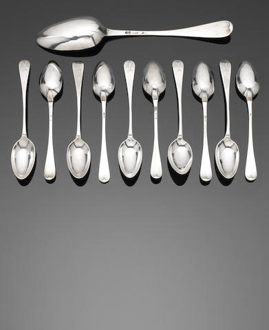 A set of ten late 18th century provincial American Old English pattern silver teaspoons by William Hookey, Newport, circa 1780  (11)
