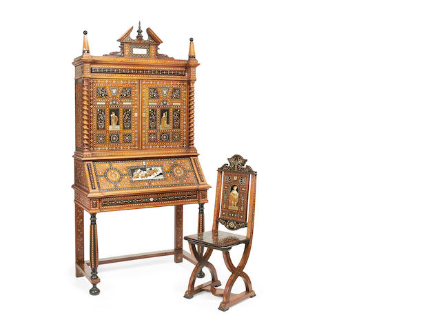 A North Italian late 19th century etched ivory, pewter, copper, brass, bone and mother-of-pearl 'alla Certosina' inlaid walnut and ebonised bureau cabinet, together with a similar sgabello in the Renaissance revival style