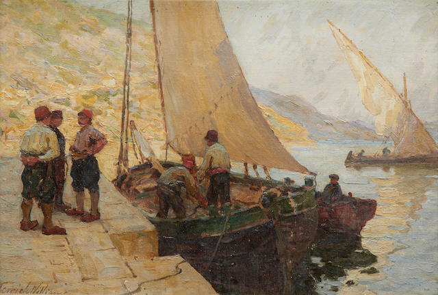 Terrick John Williams, RA (British, 1860-1936) 'The Quay, Ragusa, Dalmatia'