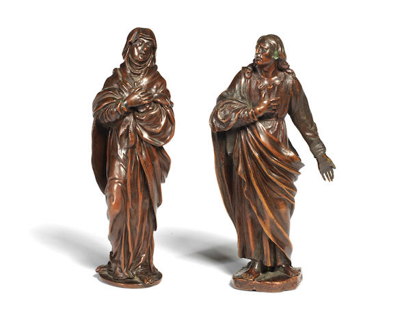 Two 18th century bronze figures of the apostle St John and Virgin Mary