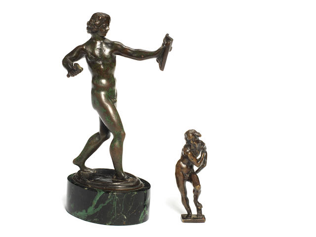 Early 16th century bronze of a man together with a 15th Century bronze of an old man