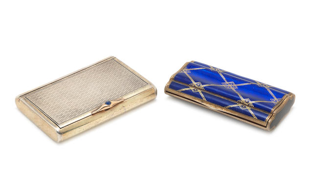 An early 20th century continental silver and enamelled cigarette case possibly Italian, stamped '935', maker's mark 'H?B' and another cigarette case (2)