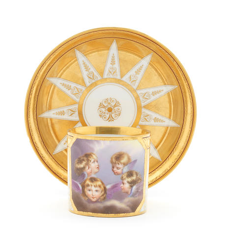 A Vienna cabinet cup and saucer, circa 1804, painted by Kothgasser (two rim chips to saucer)