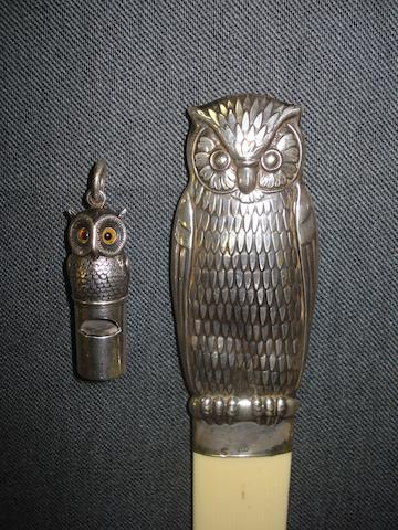 A Victorian silver owl shaped whistle, by Sampson & Mordan & Co, London 1880,