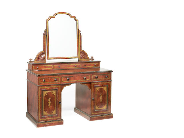 A mid Victorian stained simulated amboyna transfer print decorated dressing table