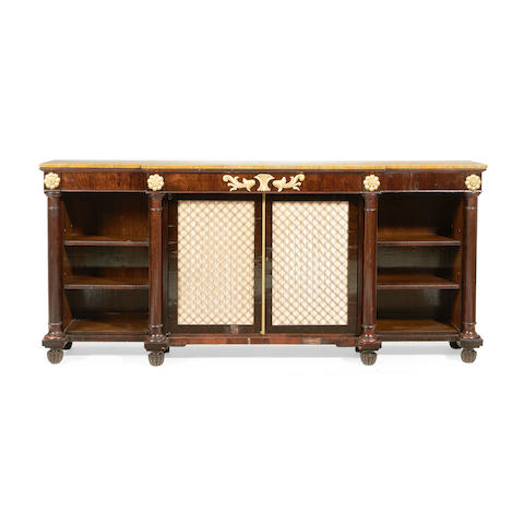 A rosewood, simulated rosewood and parcel gilt breakfront side cabinet