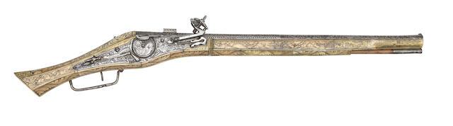 A Very Rare German 40-Bore Wheel-Lock Long Belt Pistol Or Carbine