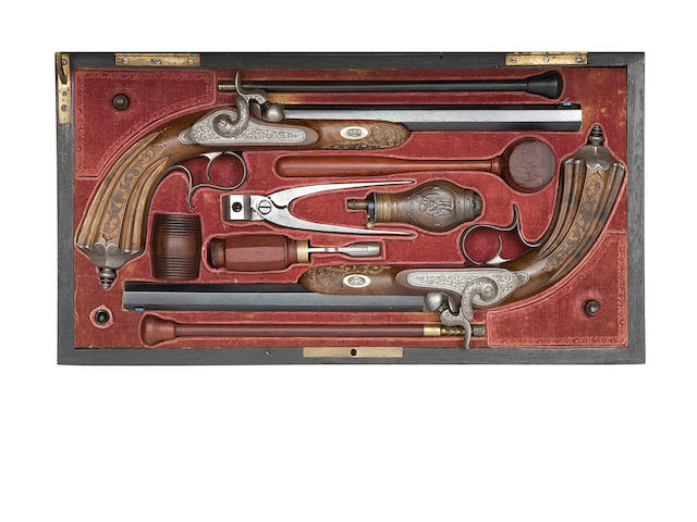 A Cased Pair Of Liège 32-Bore Percussion Target Pistols