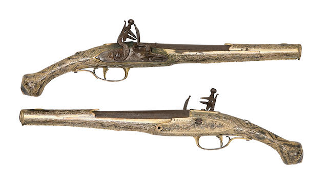 A Fine Pair Of Balkan 22-Bore Flintlock Holster Pistols With Silver-Gilt Stocks