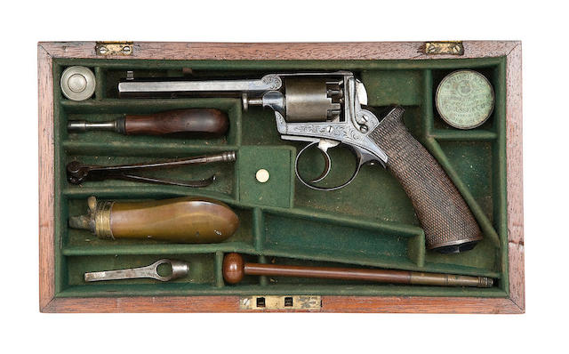 A Cased Continental 120-Bore Five-Shot Self-Cocking Percussion Revolver Of Adams Patent 1851 Model Type