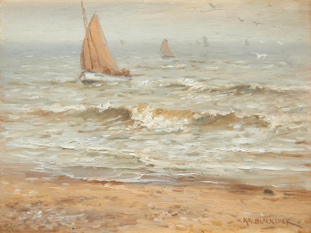 William Kay Blacklock (British 1872-1924) Boats coming in to land