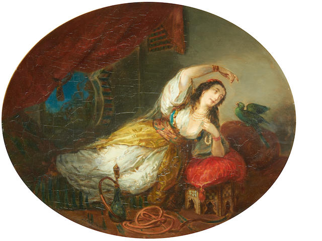 Herman Maurice Cossmann (French, 1821-1890) An odalisque with a parrot