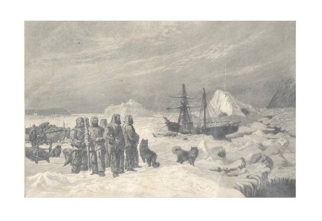 "SECOND GRINNELL EXPEDITION, 1853-55 - OPERTI (ALBERT) OPERTI (ALBERT) ""Farewell"", depicting some crew members of the abandoned brig, Advance, in Rensselaer Harbour, Greenland, 1855, [c.1885]"