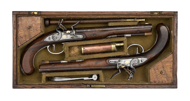 A Rare Cased Pair Of 35-Bore Silver-Mounted Flintlock Duelling Pistols