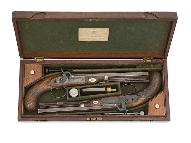 A Cased Pair Of 40-Bore Percussion Duelling Pistols