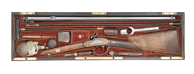 A Fine Cased French 50-Bore Percussion Sporting Rifle