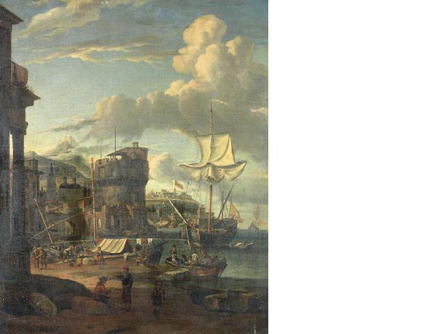Studio of Abraham Jansz. Storck (Amsterdam circa 1635-circa 1710) A capriccio of a Mediterranean port unframed