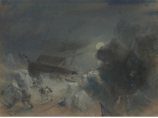 "NORTH WEST PASSAGE. CHAMBERS (GEORGE) ""H.M.S Terror in frozen strait"", [1838]"