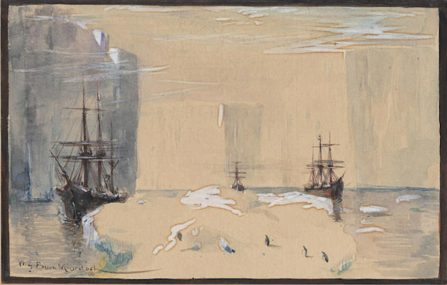DUNDEE WHALING EXPEDITION, 1892-1893 BURN MURDOCH (WILLIAM GORDON) A view of three ships, one presumed from the Dundee Whaling Expedition, with icebergs and penguins in the foreground, [c.1892]