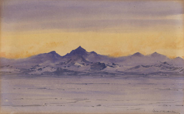 WILSON (EDWARD ADRIAN) An Antarctic mountain scene at sunset, [1911?]
