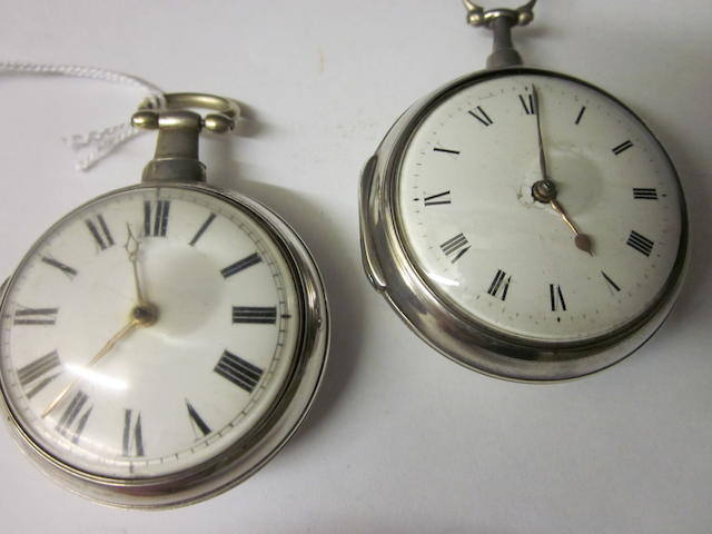 A silver pair cased pocket watch,  by Rich Evans Shrewsbury, No 85627, (2)