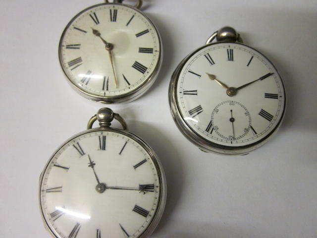 A silver verge pocket watch,  (3)