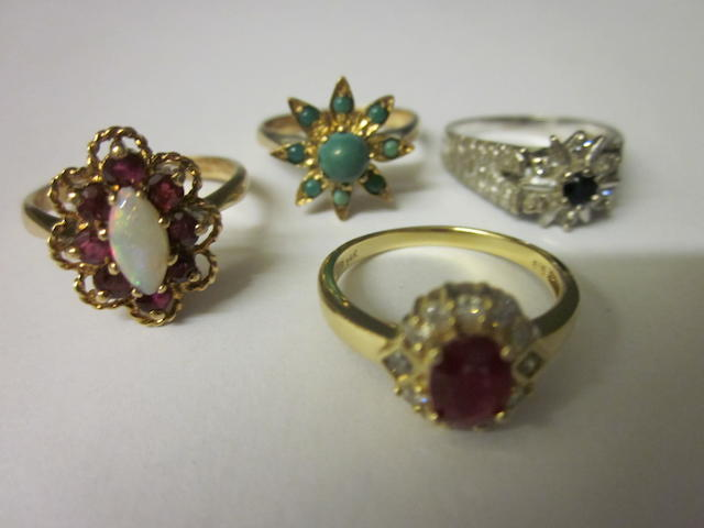 A continental ruby and diamond cluster ring,  (4)