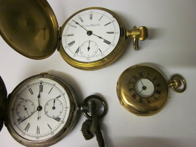 A silver chronograph hunter pocket watch, (3)