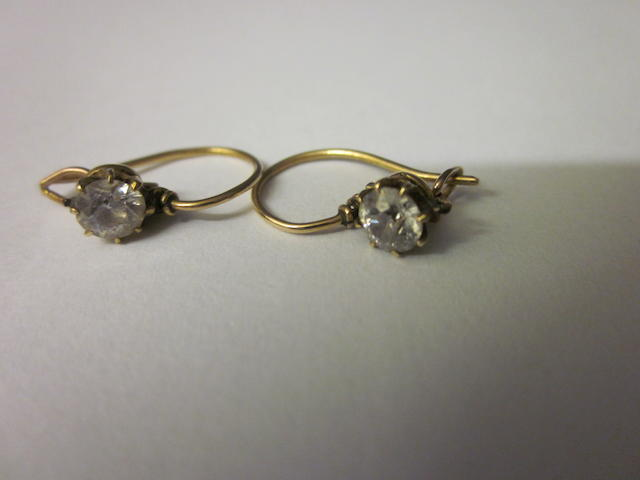 A pair of diamond earrings, (2)