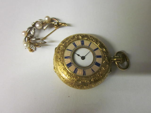 A French 18k half hunter fob watch, (2)
