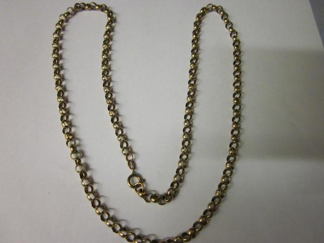 A 9 carat gold belcher link chain,