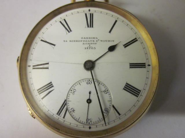 An 18 carat gold open faced key wound pocket watch, The dial signed Gabriel, 24 Bishopsgate Street Within London no 1/12763,