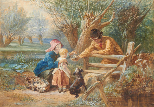 Walter Goodall (British, 1830-1889) Feeding the chicks