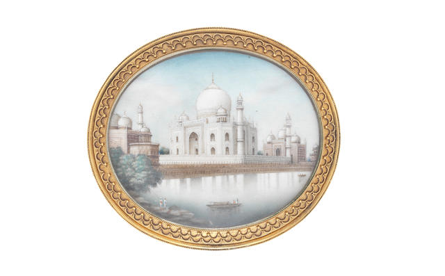 A late 19th century miniature on ivory of the Taj Mahal, in an unmarked gold frame