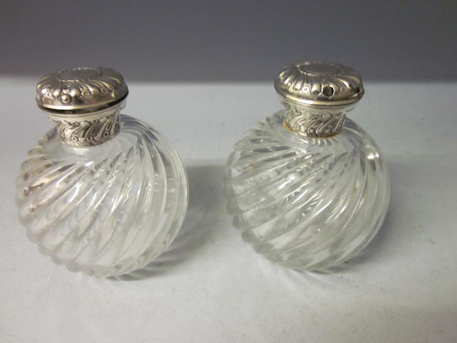 A pair of Victorian scent bottles, by William Comyns London 1891,  (2)