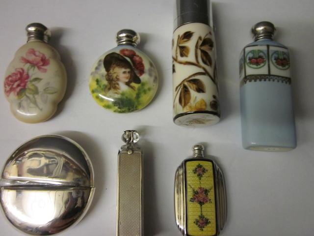 A small circular ceramic scent bottle, Birmingham 1907,  (7)