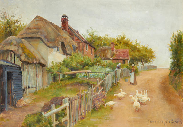 Florence Fitzgerald (British, active 1887-1900) Country village scenes, a pair