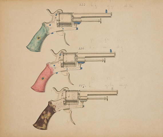 A Fine Manuscript Trade Catalogue Of Firearms Made By Dumoulin Fréres