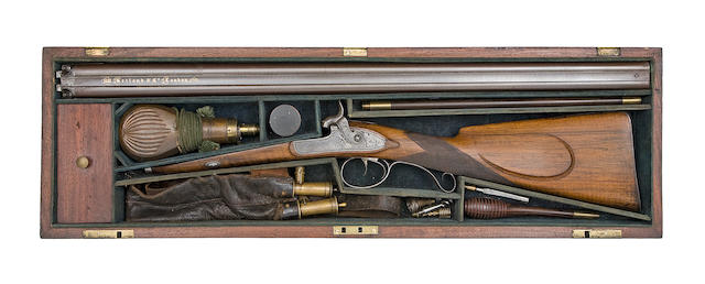 A Cased 14-Bore D.B. Percussion Sporting Gun