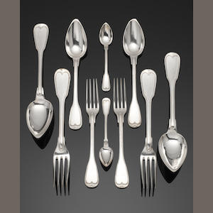 A Belgium Coffret Delheid 115 pieces silver table service of flatware predominately with maker's mark D under a wavy line, in a square device, for Delheid & Son, with second standard mark, some pre and post 1868 style marks  (115)