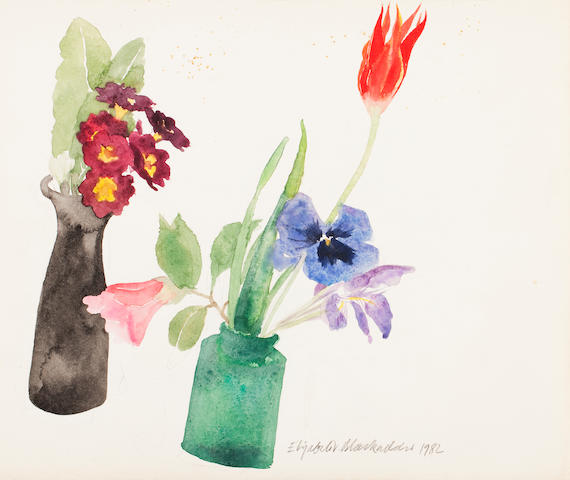 Elizabeth Blackadder Still life with flowers 24 x 27.5 cm. (9 7/16 x 10 13/16 in.) Unframed