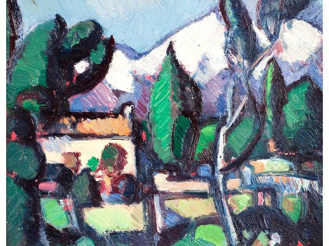 John Duncan Fergusson, RBA (British, 1874-1961) Alpes Maritimes 17.75 x 22.75 cm. (7 x 8 15/16 in.)